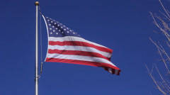 Waving American Flag - Medium Shot - stock footage