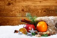 Stock Photo of artistic christmas still life of fruit and spices