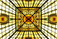 Antique stained glass ceiling Stock Photos