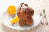 Stock Photo of golden crisp roast chicken or duck