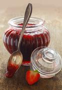 Delicious homemade strawberry jam Stock Photos