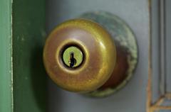 Door knob close-up - stock photo