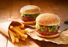 Two hamburgers and french fries Stock Photos