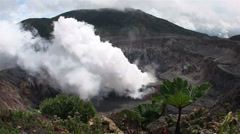The Poas volcano in Costa Rica smokes and steams. Stock Footage
