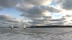 Ice sailing on a Swedish bay Stock Footage