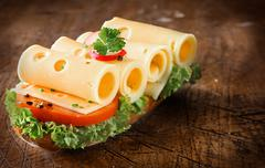scrumptious cheese, salad and baguette sandwich - stock photo