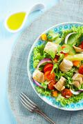 delicious cold seafood salad - stock photo
