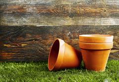 Terracotta flower pots Stock Photos