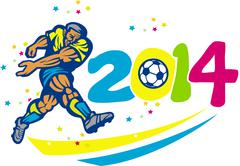 brazil 2014 soccer football player isolated retro. - stock illustration