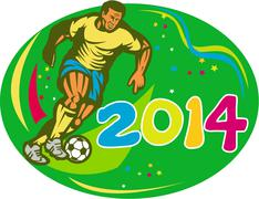brasil 2014 soccer football player run retro - stock illustration