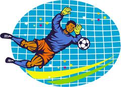 goalie soccer football player retro. - stock illustration