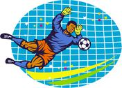 Stock Illustration of goalie soccer football player retro.