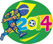 Brazil 2014 soccer football player retro. Stock Illustration