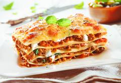 traditional lasagna with bolognese sauce - stock photo