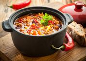Stock Photo of tasty spicy chili con carne casserole