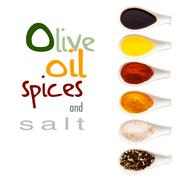 olive oil, spices and salt - stock illustration