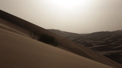 Desert Landscape: big sand dunes in a windy day; Erg Chebbi, Marocco - HD1080p - stock footage