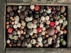 assorted mixed peppercorns - stock photo