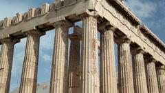 Parthenon - ancient temple in Athenian Acropolis, Greece Stock Footage