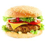Burger containing meat topped with cheese on white Stock Photos