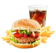Takeaway meal with hamburger and soda Stock Photos