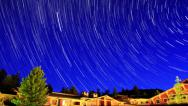 Stock Video Footage of 4K Startrails Forest 05 Timelapse Astrophotography Cabin