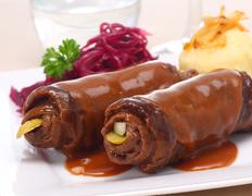 pair of beef roulades or beef olives - stock photo