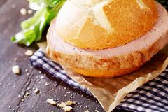 Delicious rustic lunch of meat loaf sandwich Stock Photos