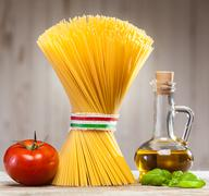 italian spaghetti with fresh ingredients - stock photo