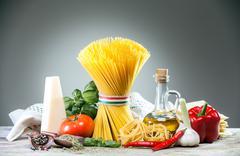 Fresh ingredients for italian cusine Stock Photos