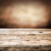 old grunge wooden table top - stock photo