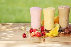 healthy smoothie milkshake drinks - stock photo