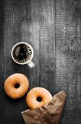 Freshly baked doughnuts with filter coffee Stock Photos