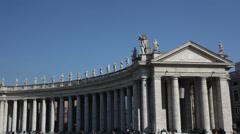 Pan view of Saint Peter's dome (Basilica di San Pietro) Vatican City, Rome, Stock Footage