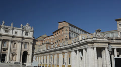 Pan view of Saint Peter's dome (Basilica di San Pietro) Vatican City, Rome, Stock Footage