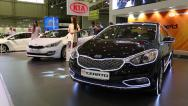 Stock Video Footage of Black KIA Cerato at automotive-show
