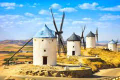 windmills of don quixote in consuegra. castile la mancha, spain - stock photo