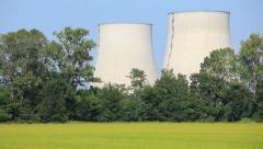 Pan view of a nuclear Power Station in rural area - HD1080P Stock Footage