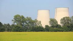 Pan view of a nuclear Power Station in rural area - HD1080P - stock footage