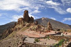 view to  Catedral in front of El Teide at Tenerife - stock photo