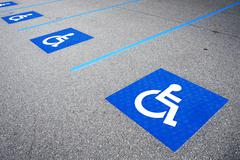 handicapped symbol disabled parking sign - stock photo