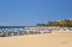 Beach of Los Christianos at Tenerife - stock photo