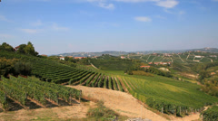 Pan view of vineyards around Barbaresco, Langhe, the famous italian wine - stock footage