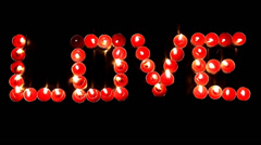 Love (red candles) Stock Footage