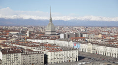 Turin panoramic view; winter clear day; Italy, Europe. HD1080P Canon 5DmkII Stock Footage