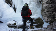 Stock Video Footage of Ice climber on a steep ice fall; HD1080P; west Alps, Italy, Europe
