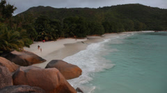 View on a tropical beach. Anse Lazio, Seychelles, Indian ocean. HD1080P Stock Footage