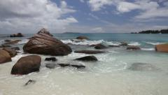 Pan view on a tropical beach. Anse Lazio, Seychelles, Indian ocean. HD1080P by Stock Footage