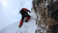 Stock Video Footage of A dengerous pitch during an extreme winter climbing. Dolomiti (East Alps),