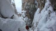Stock Video Footage of Extreme winter climbing. Dolomiti (East Alps), Trentino, Italy, Europe.